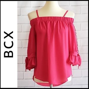 NWT BCX Off-the-Shoulder Top w/Cut Out Sleeves